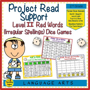Project Read Support: Level II Red Words or Irregular Spelled Words Dice Games