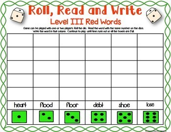 Project Read Support: Level III Red Words or Irregular Spellings Dice Games