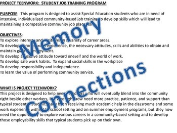 Project Teenwork:  Student Job Training Program