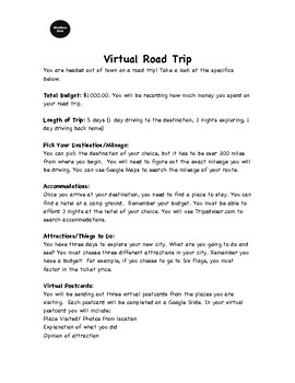 Virtual Road Trip Math Activity -Research, Planning & Budgeting Project