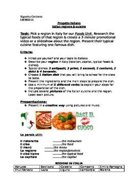 Project on Italian food and Italian regions