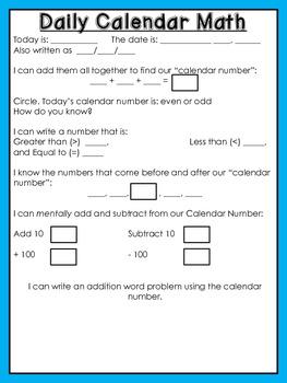 Projectable Calendar Math Morning Work