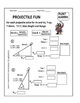 Projectile Fun! This Pirate Worksheet is Rated AARRGH!! 30-60-90 ...
