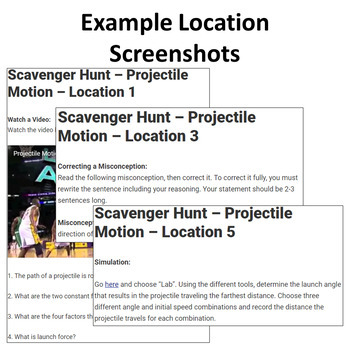 Projectile Motion – A Digital Scavenger Hunt Activity