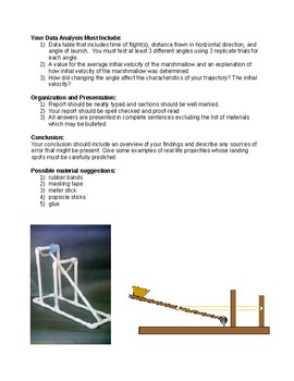 Projectile Motion Catapult Lab