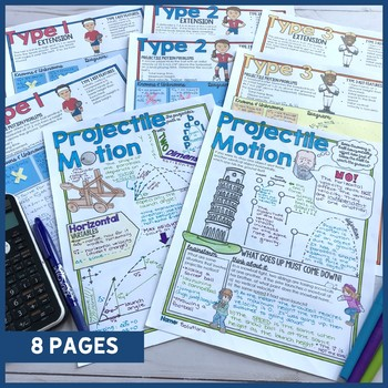 Projectile Motion Doodle Notes with Practice Problems - Doodle Notes for PHYSICS