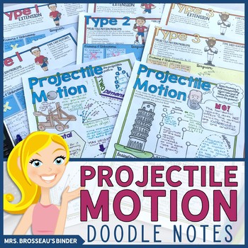 Projectile Motion Doodle Notes with Practice Problems | Kinematics PHYSICS