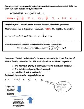 Projectile Motion Notes Teacher Key