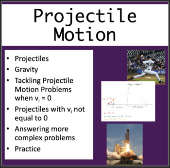 Projectile Motion - PowerPoint Lesson, Review Questions & Student Notes