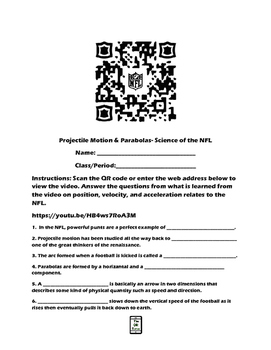 Projectile Motion-Science of the NFL QR Code Video Worksheet