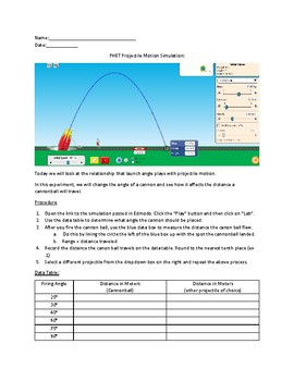 Projectile Motion Simulation using PHET by Mary Teren | TpT
