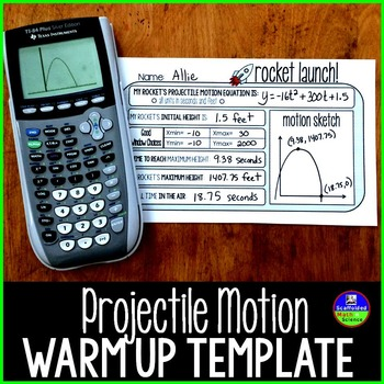 Quadratic Word Problems Template for Projectile Motion