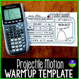 Graphing Quadratic Word Problems Projectile Motion Graphic Organizer Template