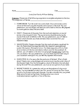 Projects for the novel Lord of the Flies by William Golding