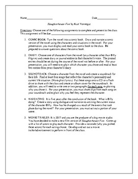 Projects for the novel Slaughterhouse-Five by Kurt Vonnegut