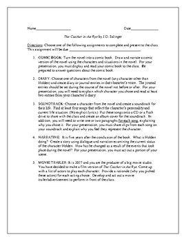 Projects for the novel The Catcher in the Rye by J.D. Salinger