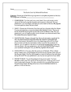 Projects for the novel The Scarlet Letter by Nathaniel Hawthorne
