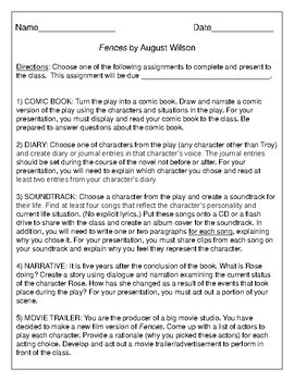Projects for the play Fences by August Wilson