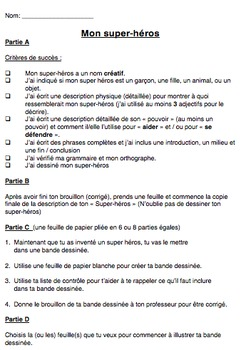 "French Immersion Projet ""Mon super-héros"""
