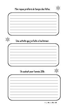 Projet d'écriture pour le retour du congé de Noël