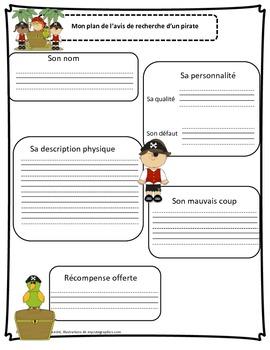 Projet d'écriture: Avis de recherche d'un pirate/ French pirate writing