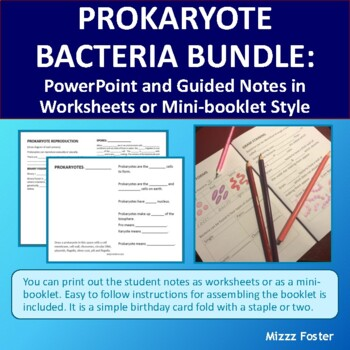 Bacteria Bundle of Power point, worksheets and minibook with key