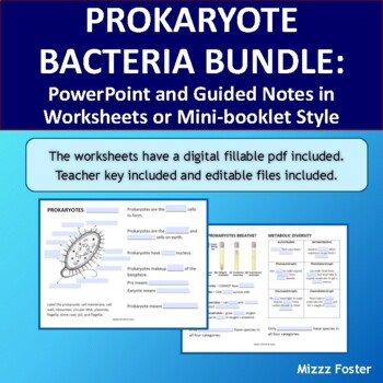 Prokaryote Bacteria Bundle of Power point, worksheets and minibook with key