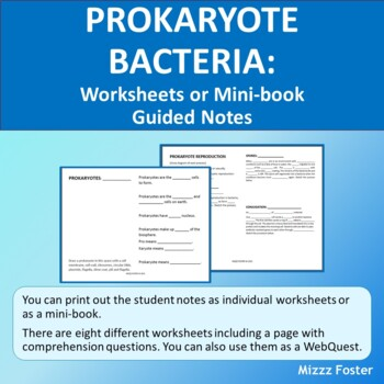 Prokaryotes: Bacteria Worksheets or Mini-Book with Key for INB by ...