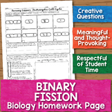 Prokaryotic Cell Division Binary Fission Biology Homework Worksheet