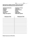Prokaryotic Eukaryotic Cells Matching Worksheet