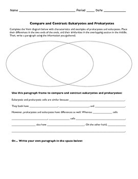 Prokaryotic and Eukaryotic Cells Compare and Contrast