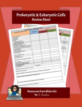 Prokaryotic vs. Eukaryotic Chart and Questions w/ Answer Key