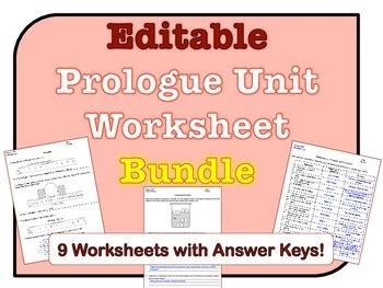 Prologue Worksheets *EDITABLE BUNDLE*