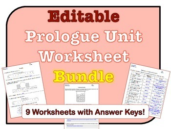 Prologue Worksheets *EDITABLE BUNDLE*