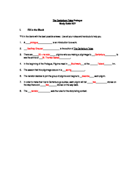 Prologue to The Canterbury Tales - Study Guide