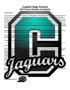 Prom Royalty Nomination Letter