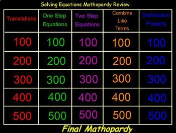 Promethean ActivInspire Solving Equations Jeopardy style game