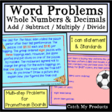Adding and Subtracting Decimals Word Problems for PROMETHEAN Board Use