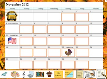 Promethean Board November Calendar
