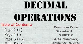 Promethean Flipchart: Add, Subtract, Multiply, Divide Decimals 5.NBT.7
