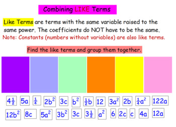 Promethean Flipchart on Simplifying expressions and combining like terms