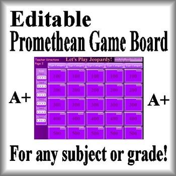 Promethean Game Board Jeopardy Template