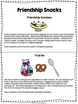 Promoting Friendship Freebie - Activities, Writing, Snack Ideas, Art...