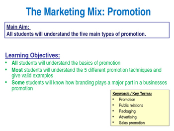 Promotion The Marketing Mix The 4 P S Ppt