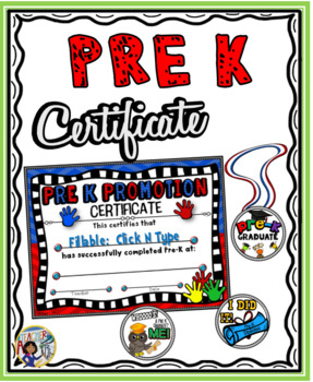 Pre-K Promotional Certificate and Medals:
