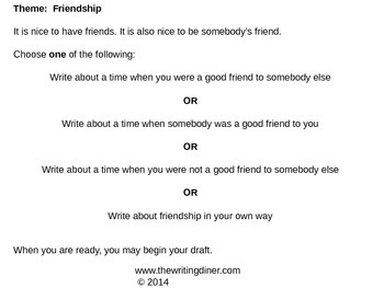 Prompt Practice - Friendship from The Writing Diner