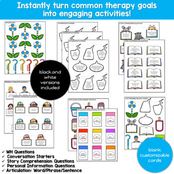 Stimulus Cards for Common Speech Therapy Goals