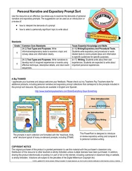 Prompt Sort (Narrative & Expository) Preparation for STAAR - English
