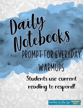 Prompt for Daily Notebooks--Students Use Current Reading to Respond! {CCSS}