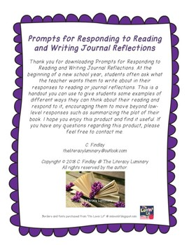 Prompts for Responding to Reading and Writing Journal Reflections